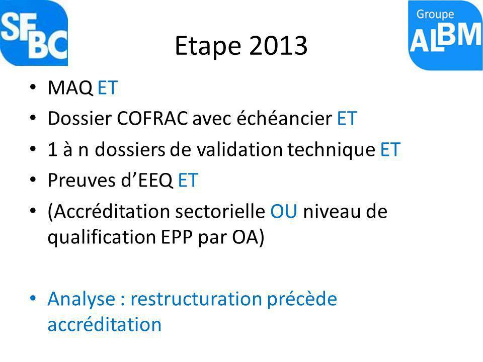 Etape 2013 MAQ ET Dossier COFRAC avec échéancier ET