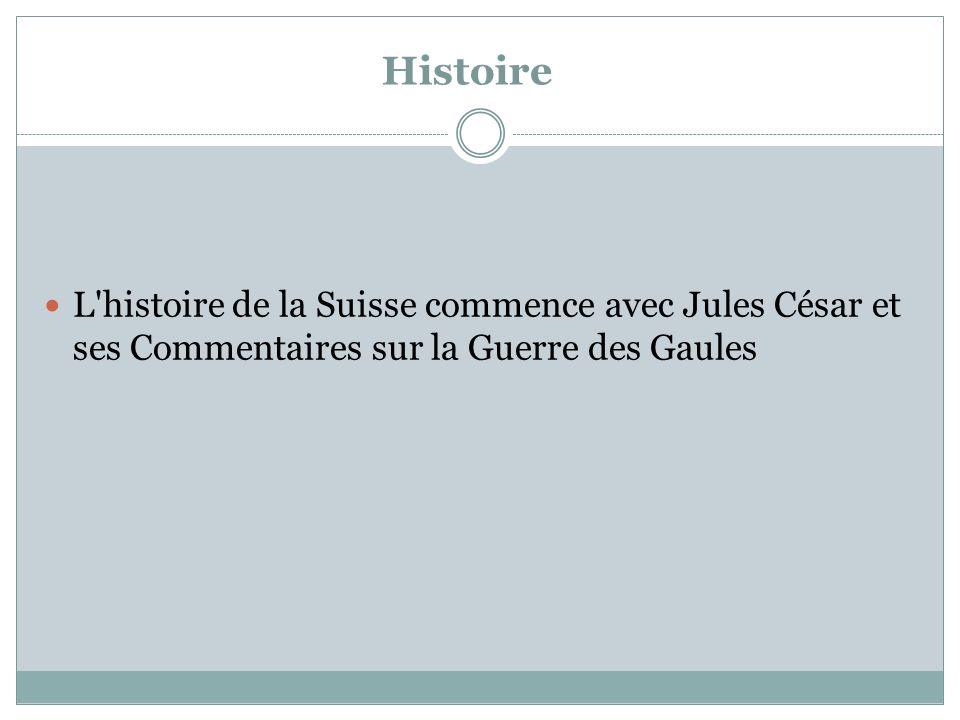 Histoire L histoire de la Suisse commence avec Jules César et ses Commentaires sur la Guerre des Gaules.
