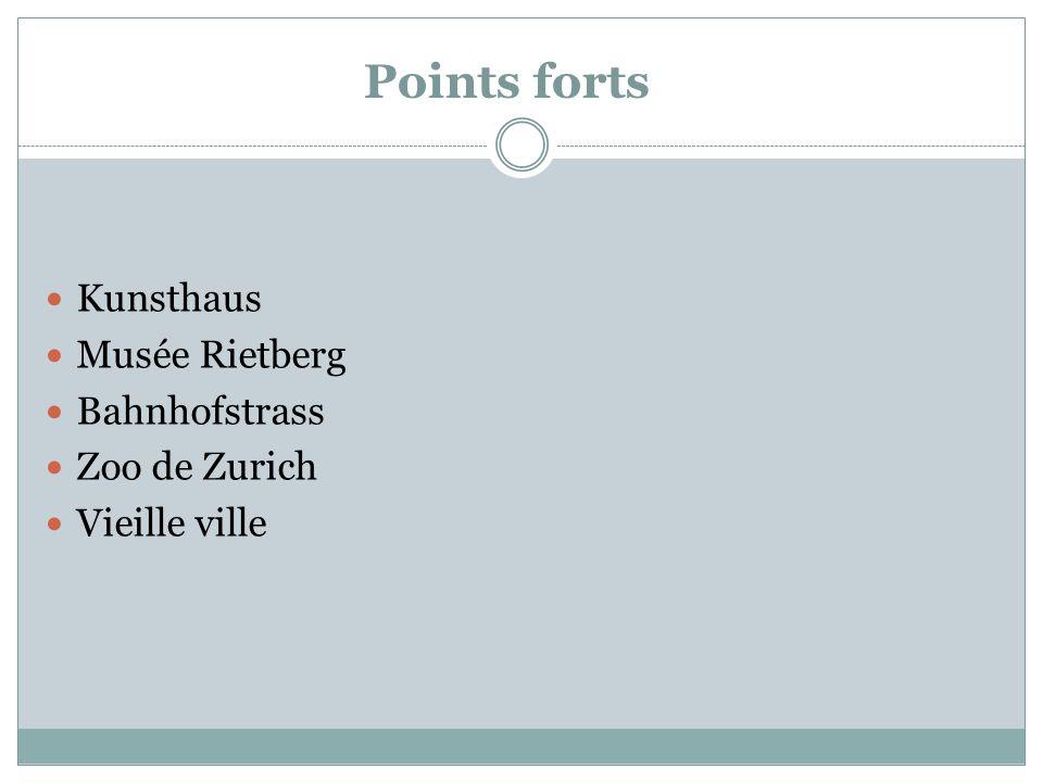 Points forts Kunsthaus Musée Rietberg Bahnhofstrass Zoo de Zurich