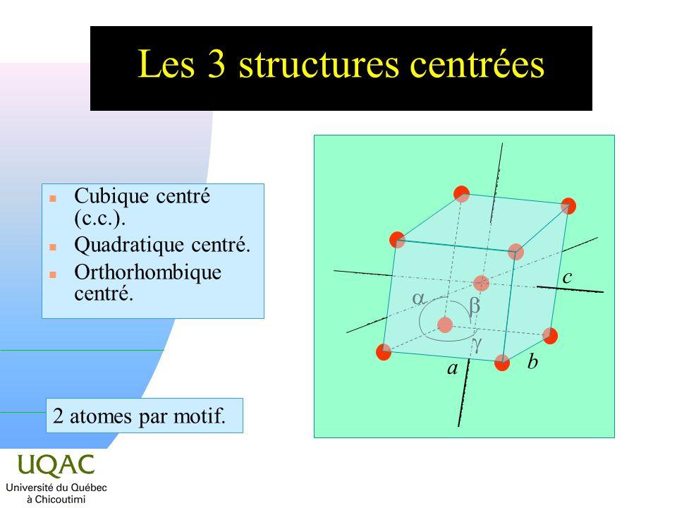 Les 3 structures centrées