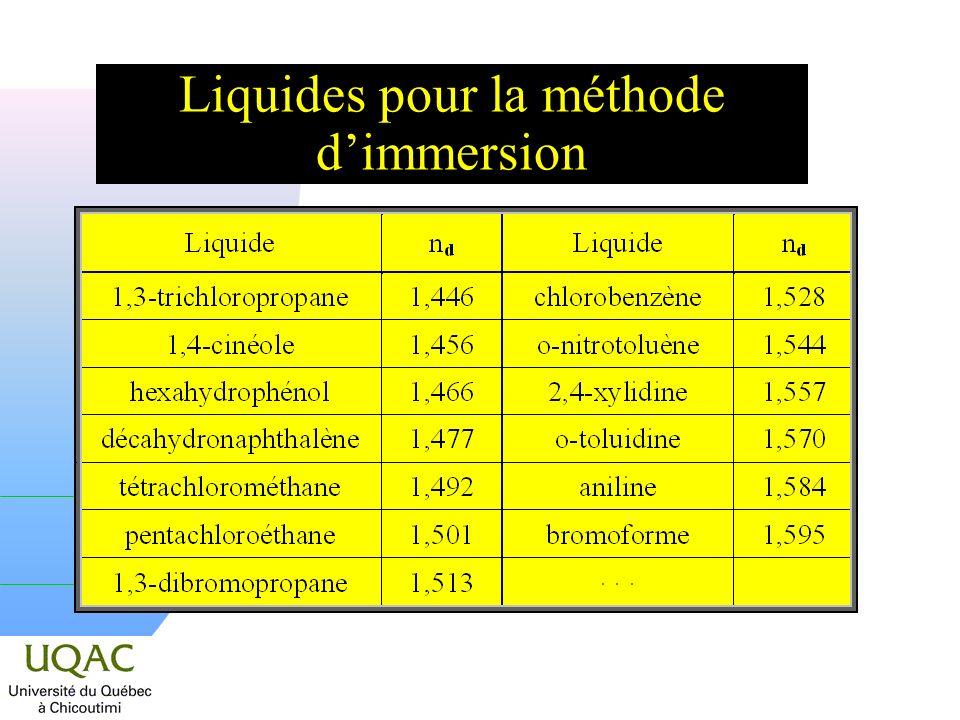 Liquides pour la méthode d'immersion
