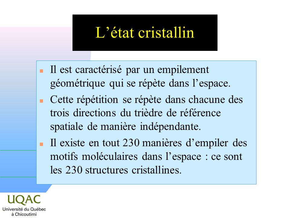 L'état cristallin Il est caractérisé par un empilement géométrique qui se répète dans l'espace.