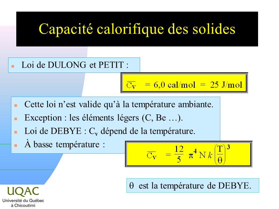 Capacité calorifique des solides