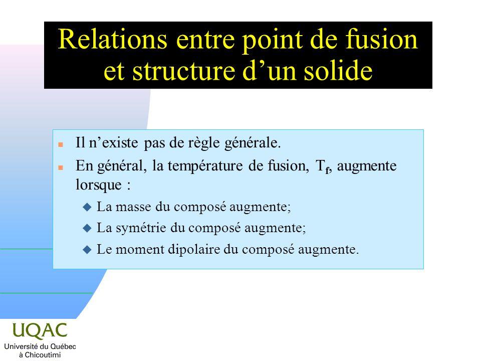 Relations entre point de fusion et structure d'un solide