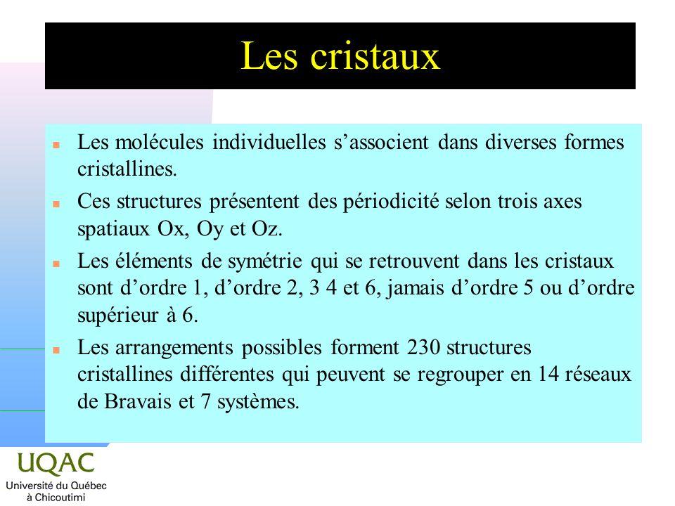 Les cristaux Les molécules individuelles s'associent dans diverses formes cristallines.
