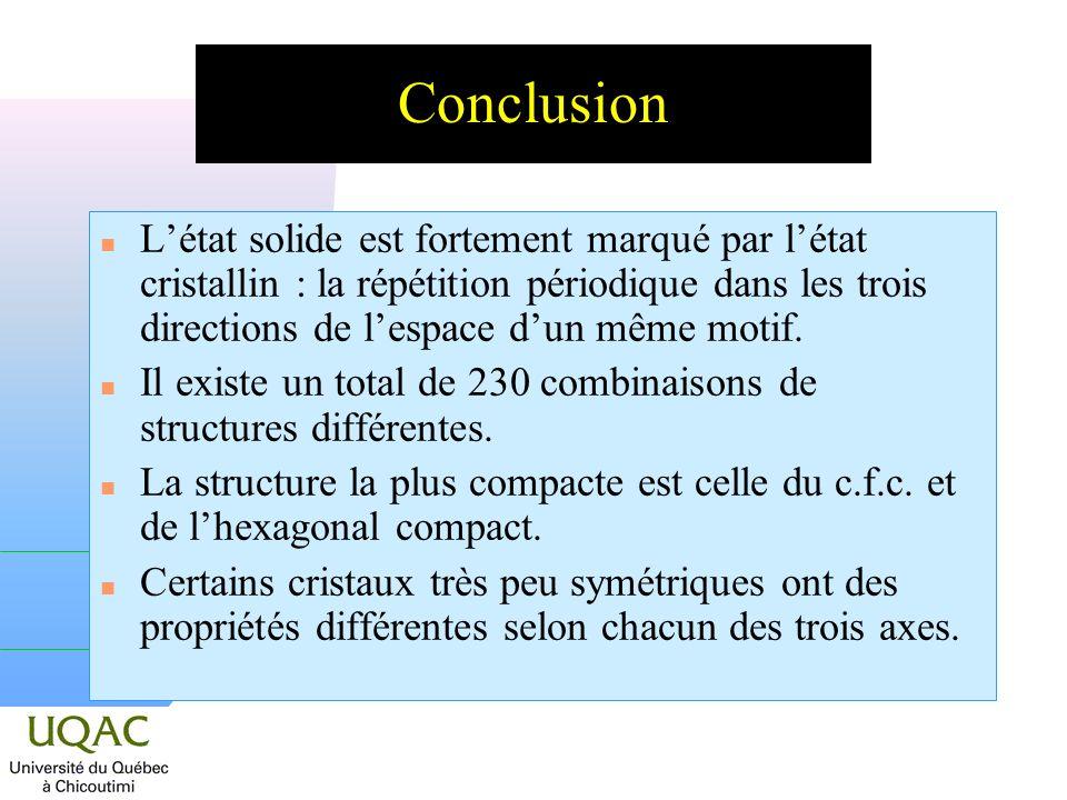 Conclusion L'état solide est fortement marqué par l'état cristallin : la répétition périodique dans les trois directions de l'espace d'un même motif.