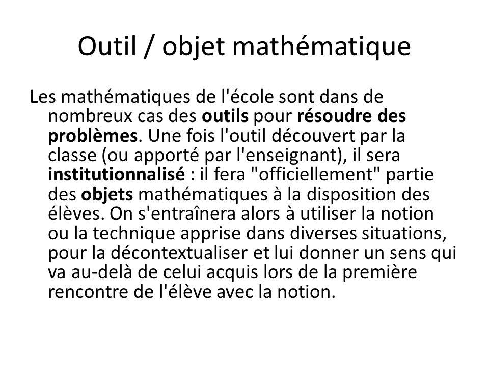 Outil / objet mathématique