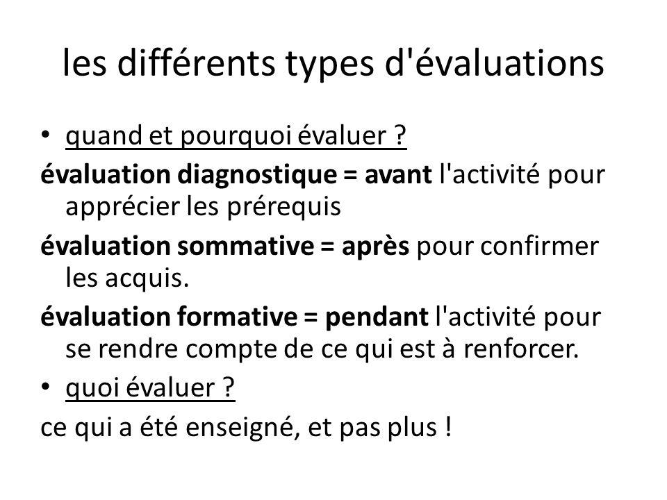 les différents types d évaluations