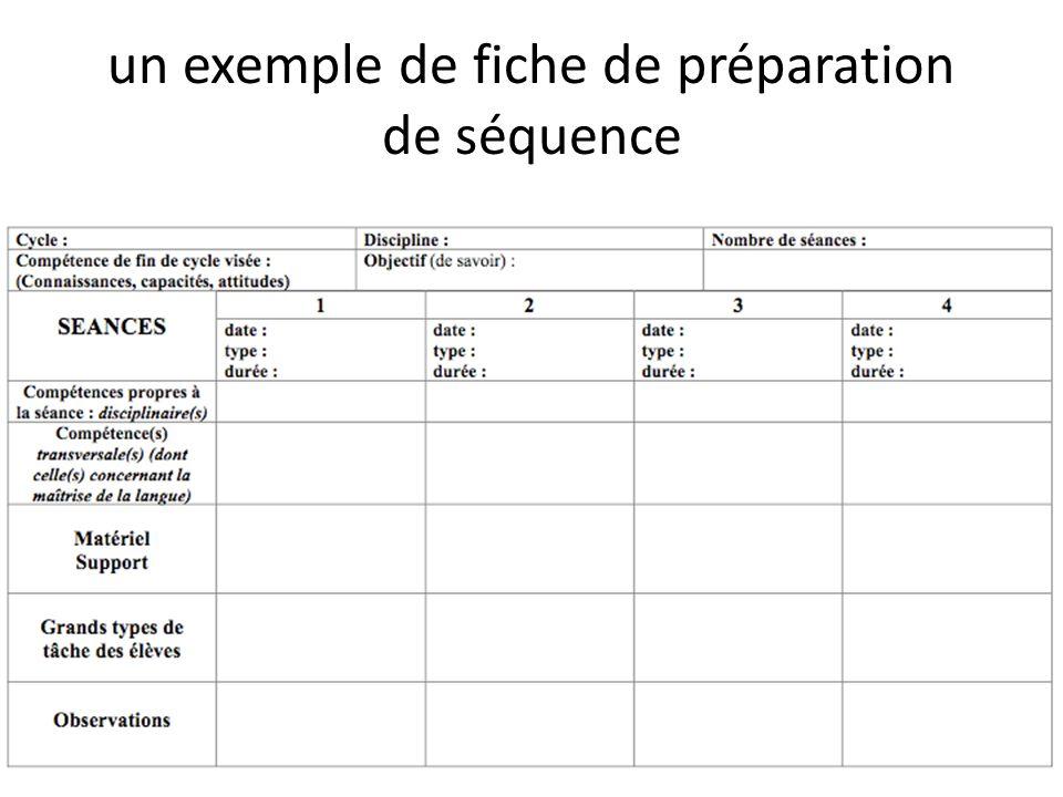 un exemple de fiche de préparation de séquence