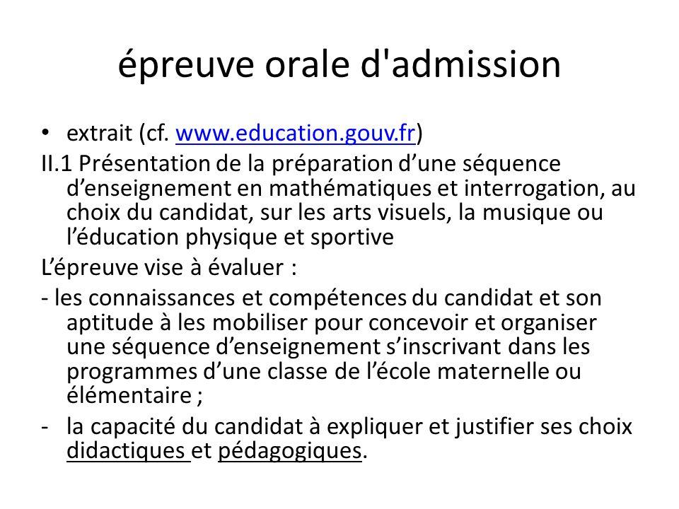 épreuve orale d admission