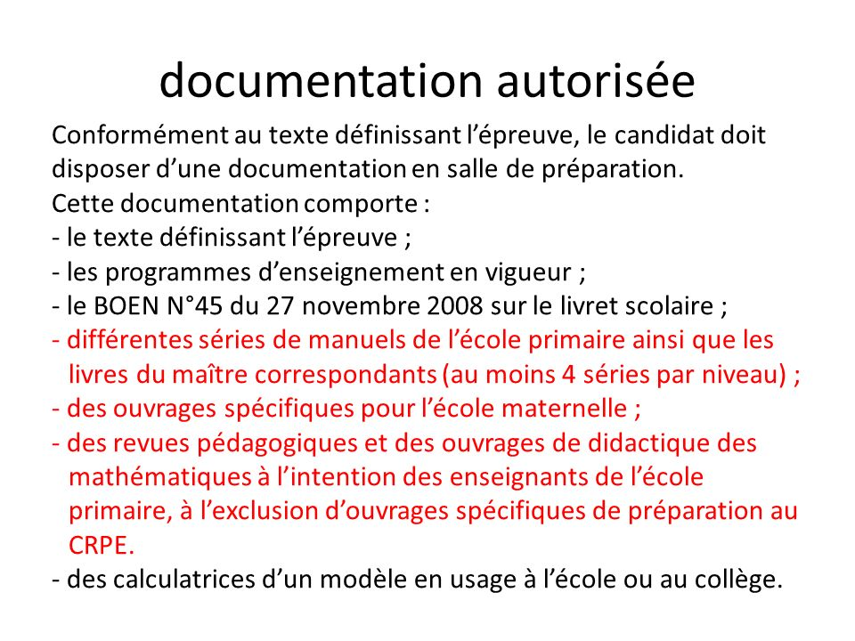 documentation autorisée