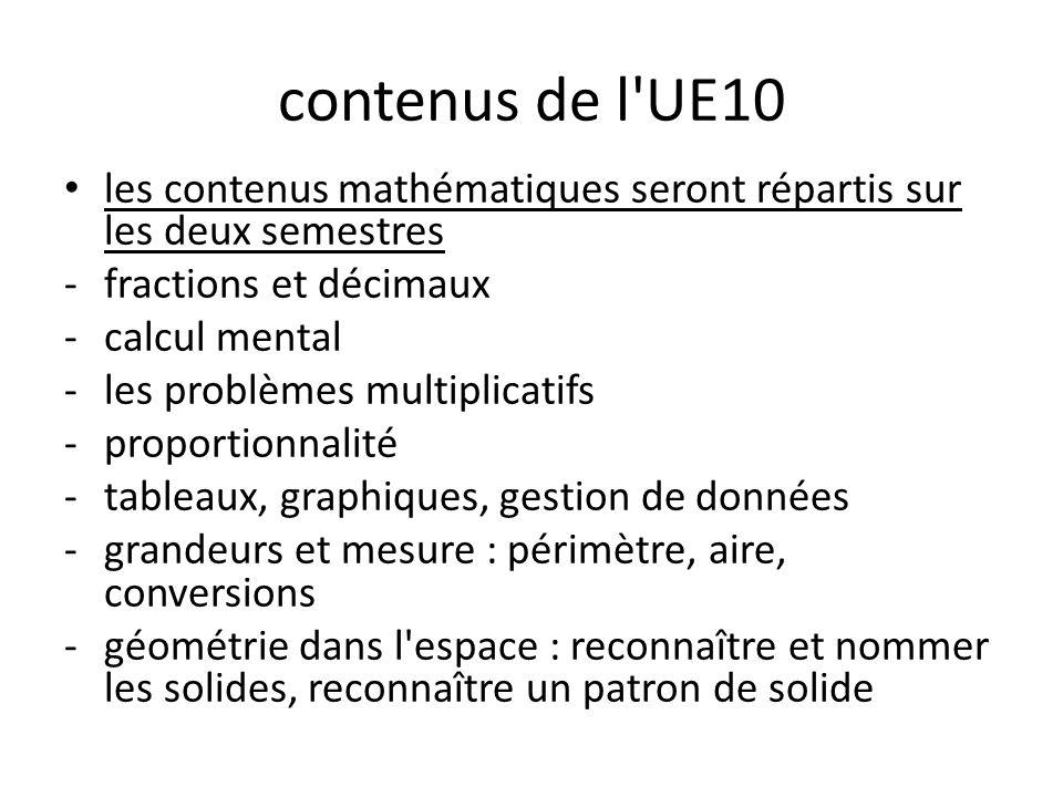 contenus de l UE10 les contenus mathématiques seront répartis sur les deux semestres. fractions et décimaux.