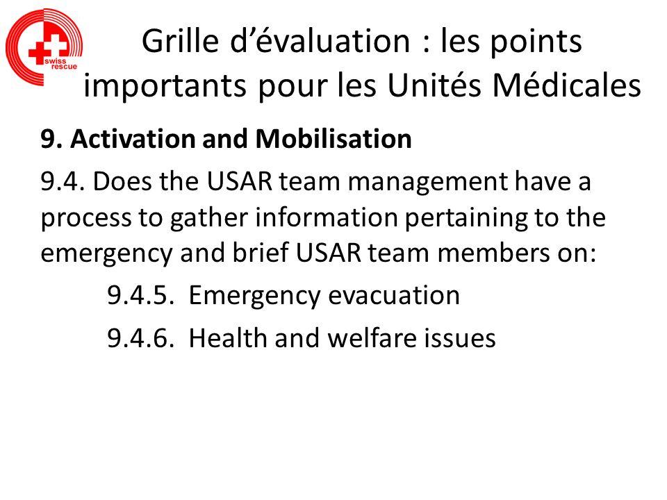 Grille d'évaluation : les points importants pour les Unités Médicales