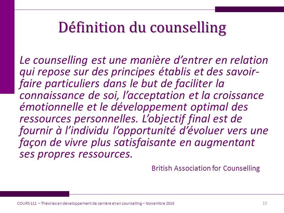 Définition du counselling