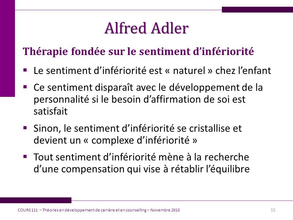 Alfred Adler Thérapie fondée sur le sentiment d'infériorité