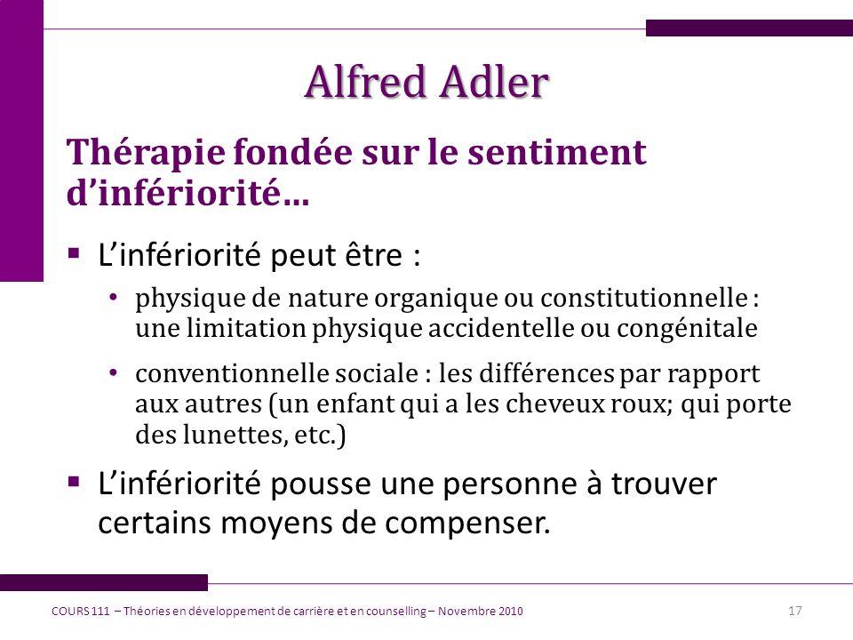 Alfred Adler Thérapie fondée sur le sentiment d'infériorité…