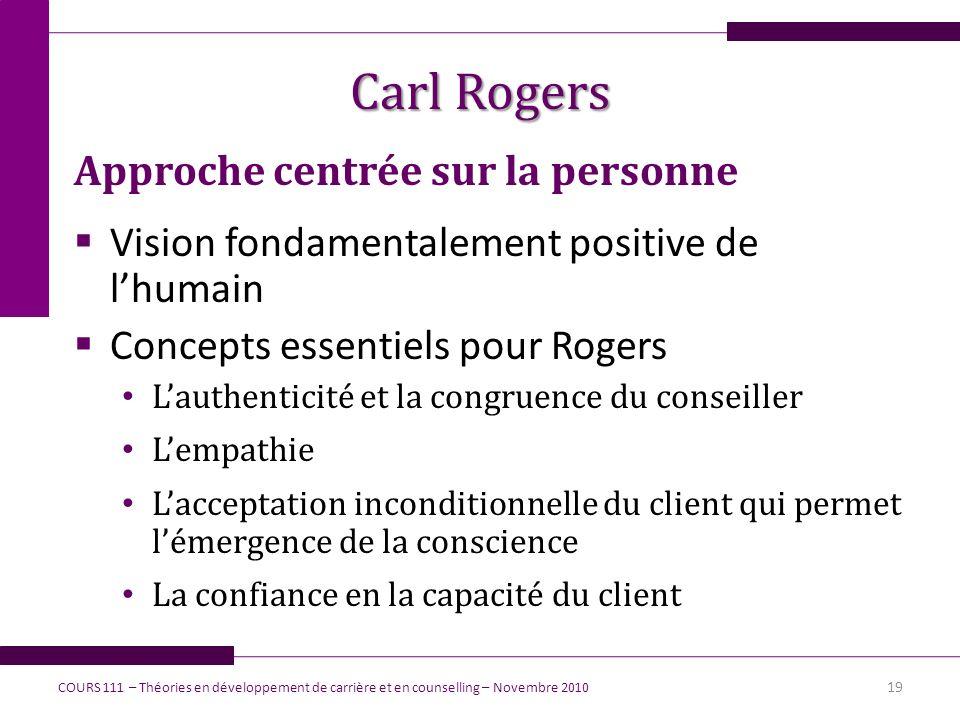 Carl Rogers Approche centrée sur la personne