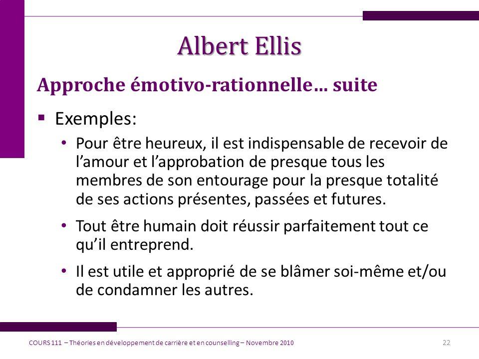 Albert Ellis Approche émotivo-rationnelle… suite Exemples: