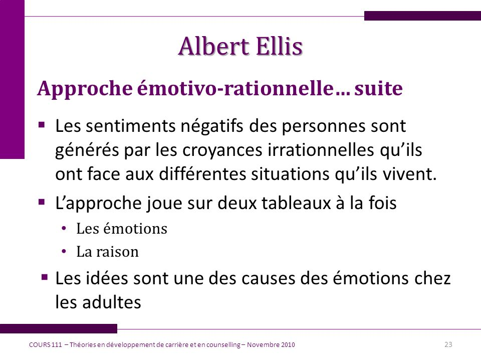 Albert Ellis Approche émotivo-rationnelle… suite