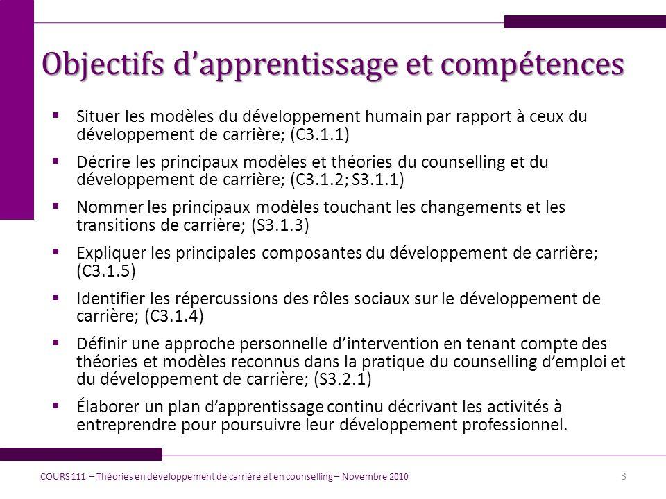 Objectifs d'apprentissage et compétences
