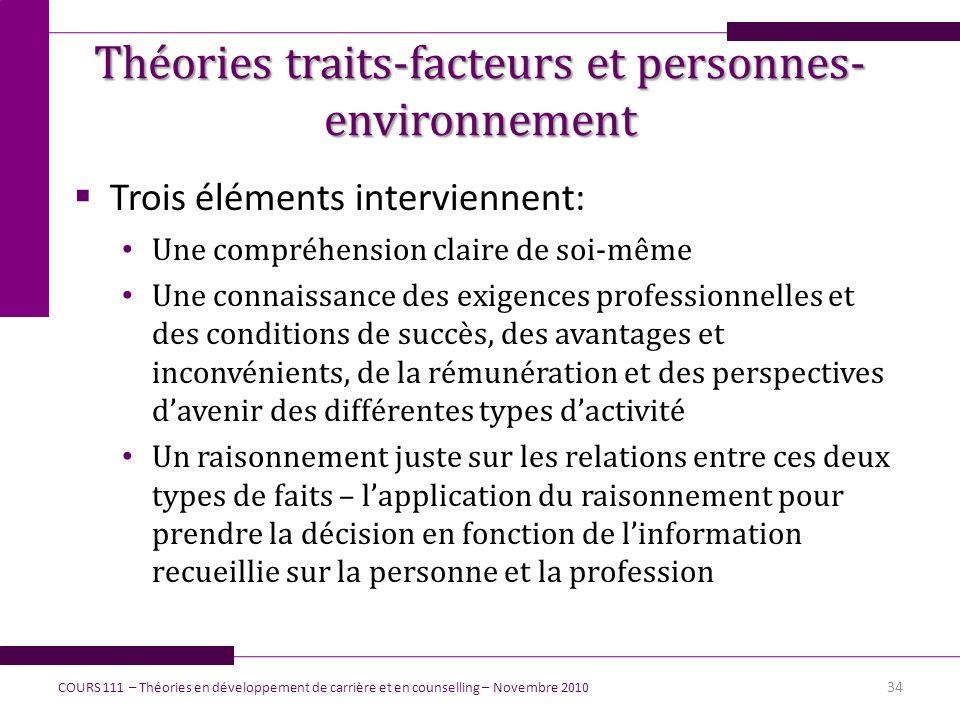 Théories traits-facteurs et personnes-environnement