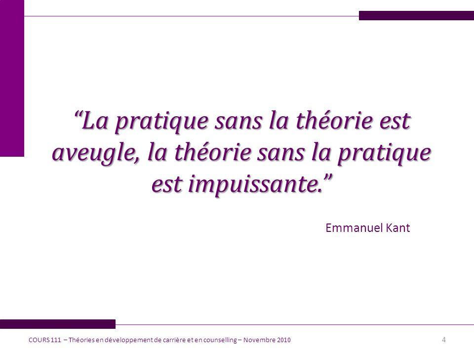 La pratique sans la théorie est aveugle, la théorie sans la pratique est impuissante.