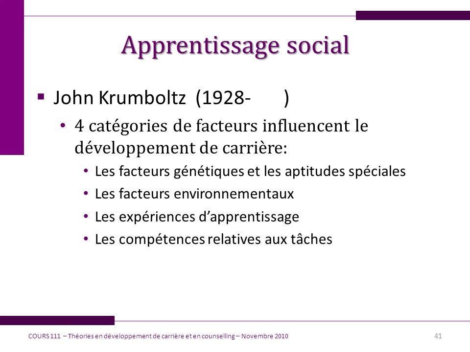 Apprentissage social John Krumboltz (1928- )