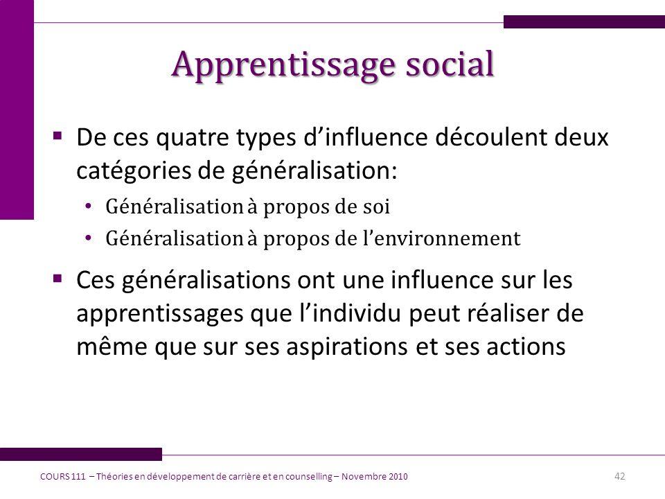 Apprentissage social De ces quatre types d'influence découlent deux catégories de généralisation: Généralisation à propos de soi.
