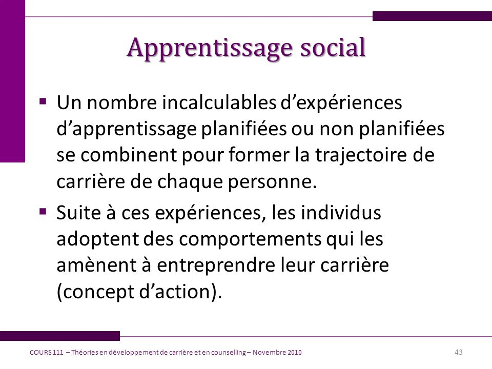 Apprentissage social