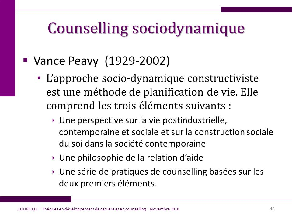 Counselling sociodynamique