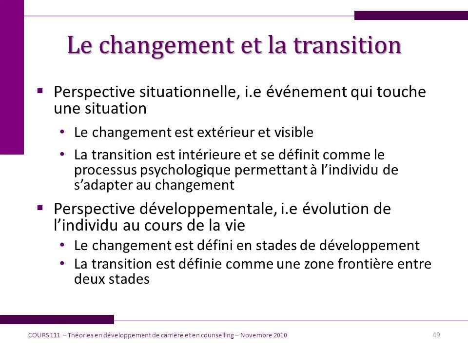 Le changement et la transition