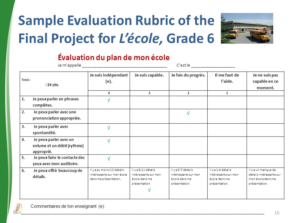 Sample Evaluation Rubric of the Final Project for L'école, Grade 6