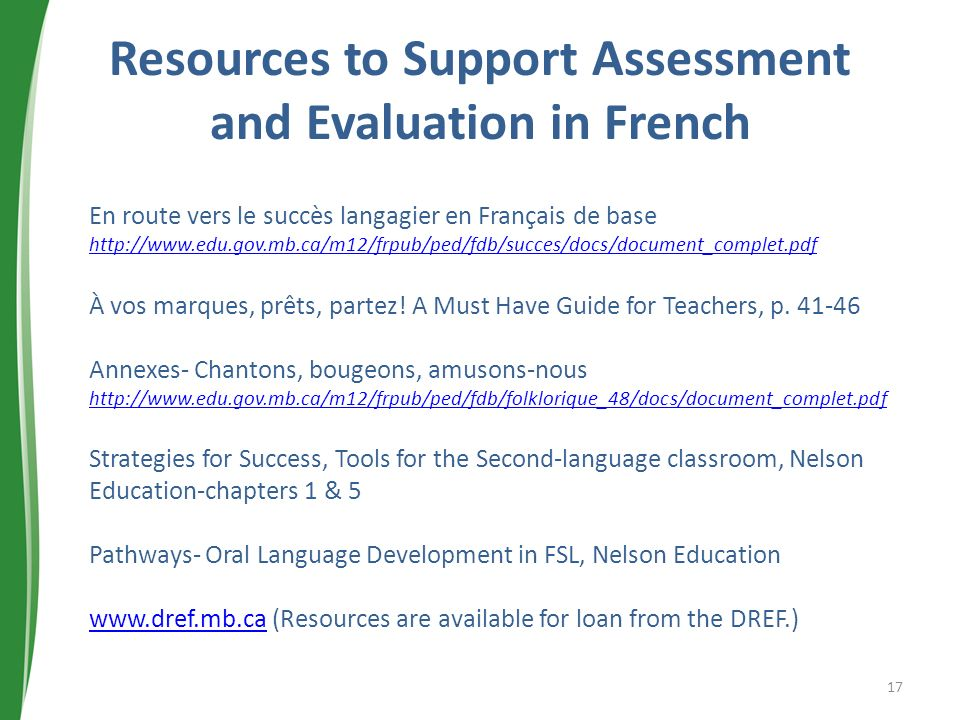 Resources to Support Assessment and Evaluation in French
