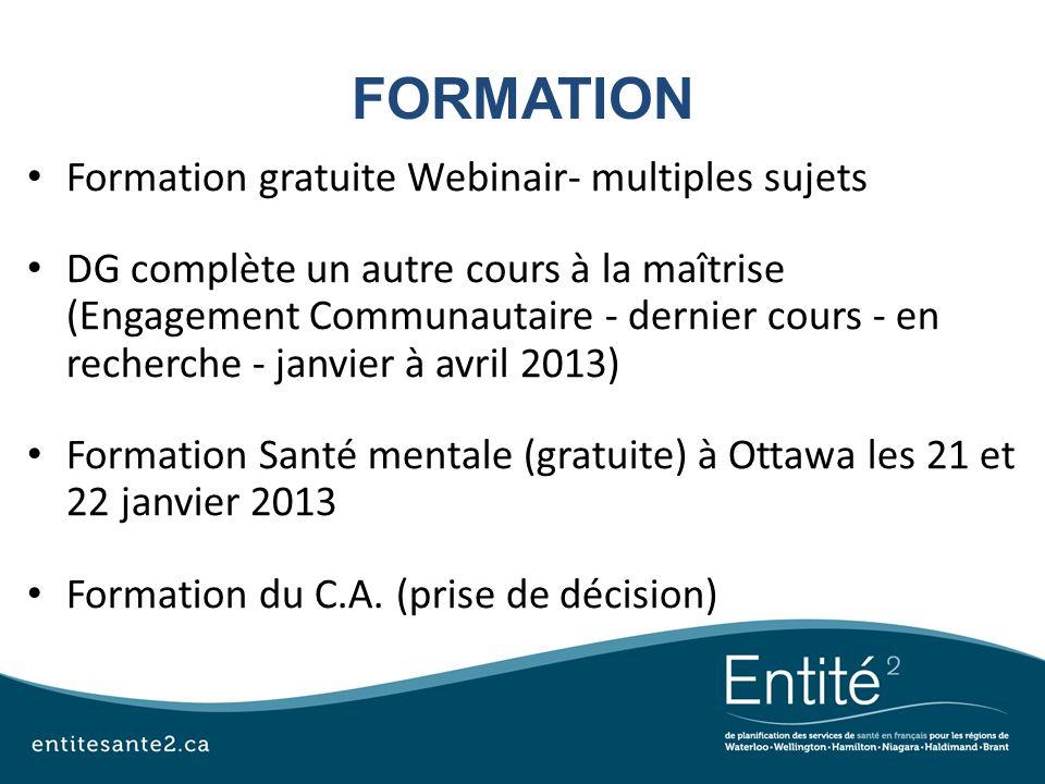 FORMATION Formation gratuite Webinair- multiples sujets