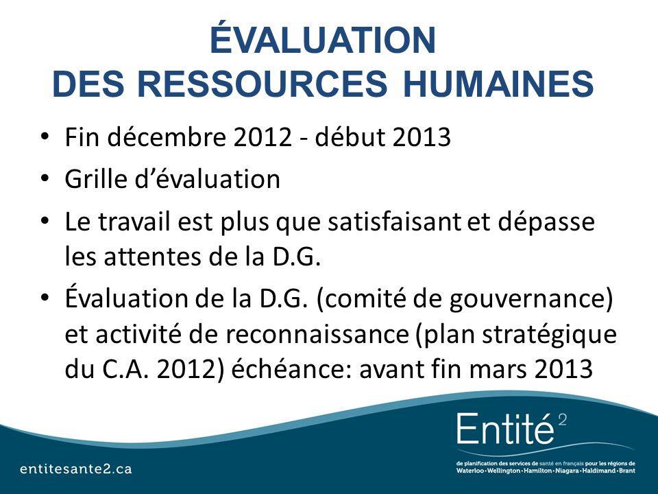 ÉVALUATION DES RESSOURCES HUMAINES