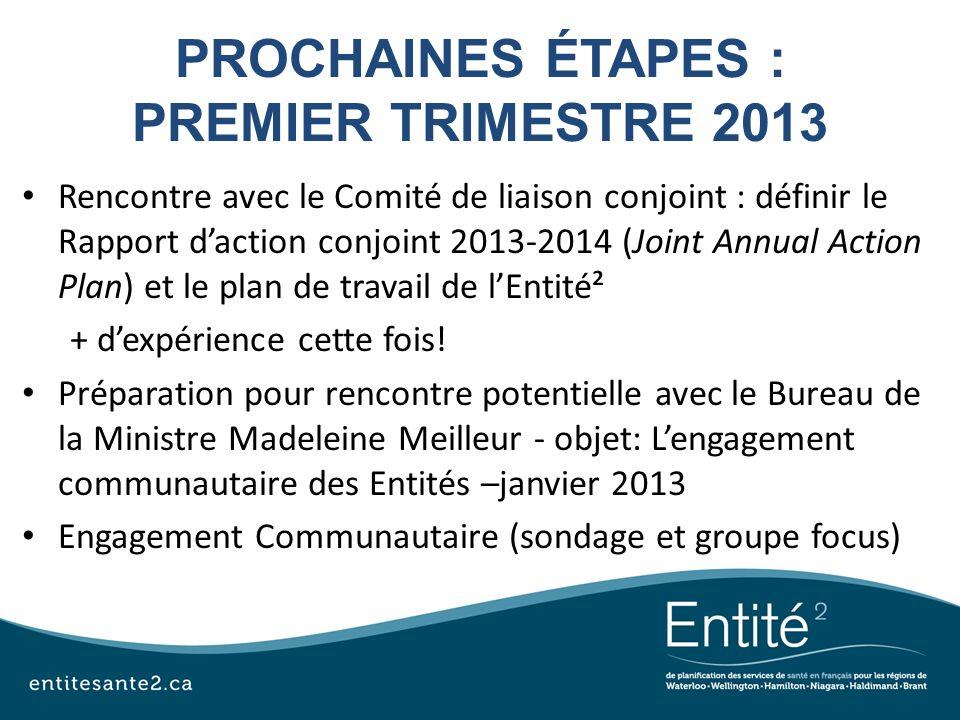 PROCHAINES ÉTAPES : PREMIER TRIMESTRE 2013