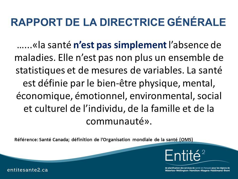 RAPPORT DE LA DIRECTRICE GÉNÉRALE