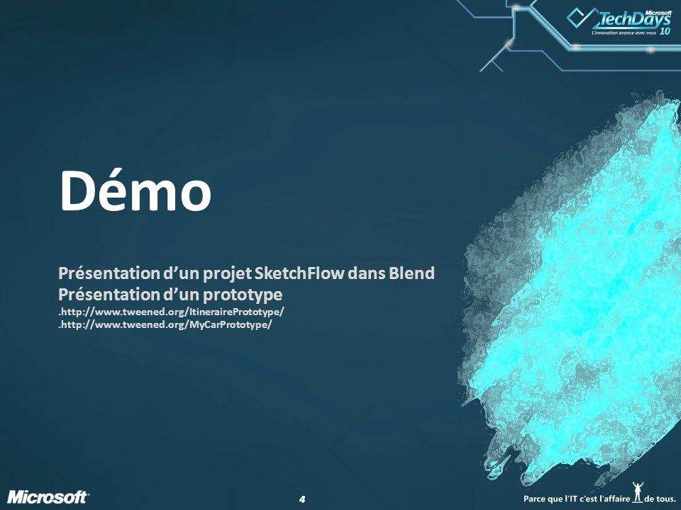 Démo Présentation d'un projet SketchFlow dans Blend