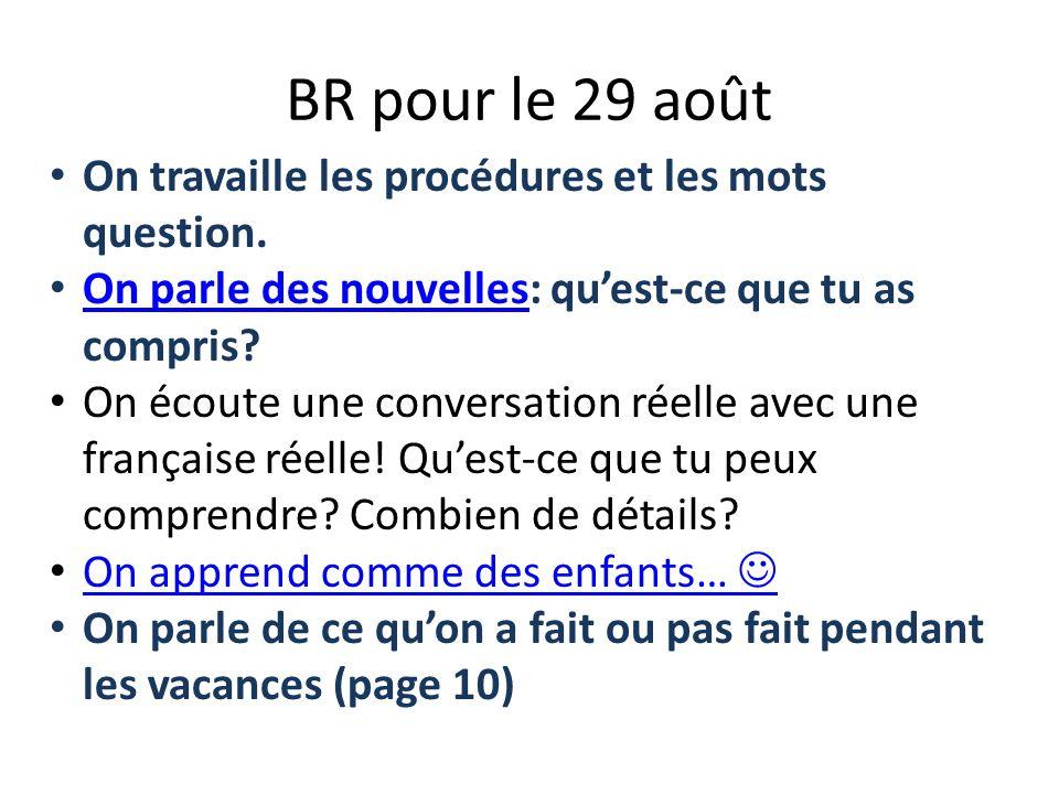 BR pour le 29 août On travaille les procédures et les mots question.