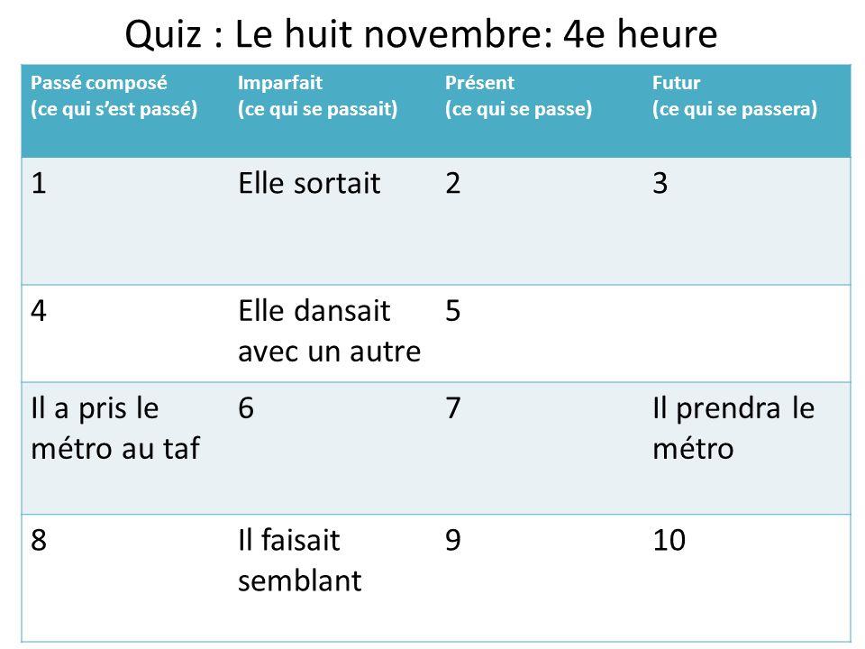 Quiz : Le huit novembre: 4e heure
