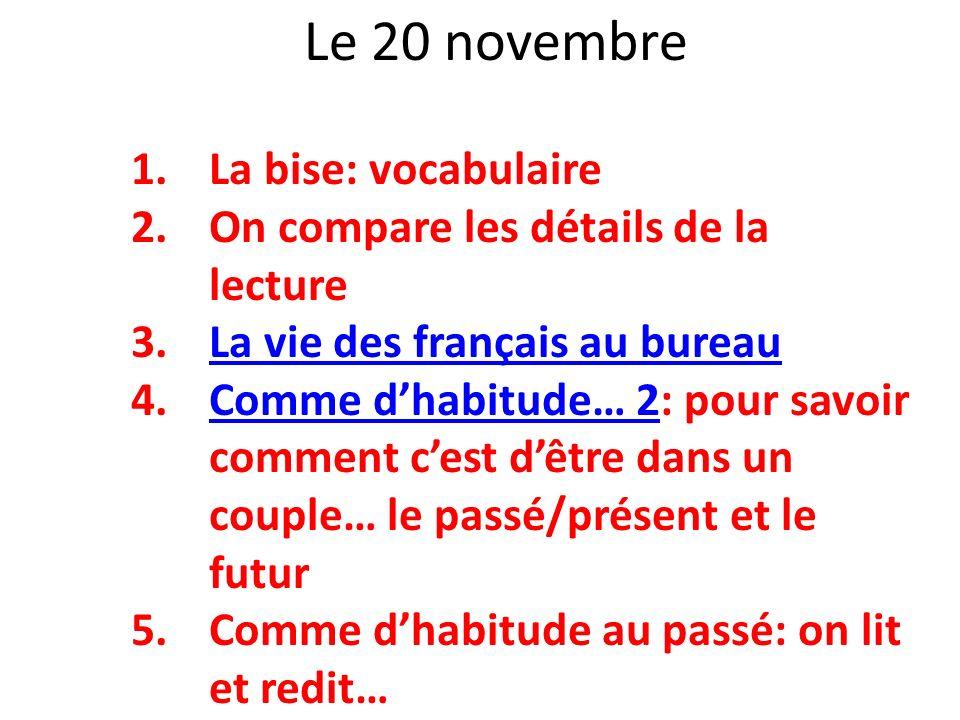 Le 20 novembre La bise: vocabulaire