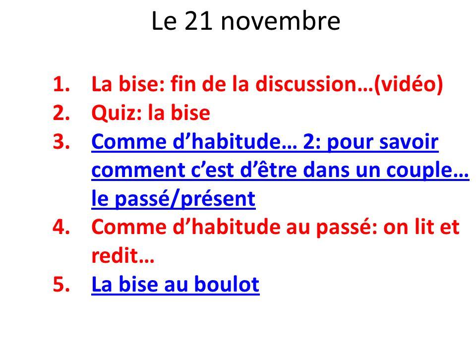 Le 21 novembre La bise: fin de la discussion…(vidéo) Quiz: la bise