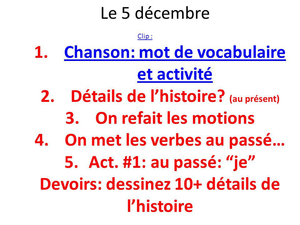 Chanson: mot de vocabulaire et activité
