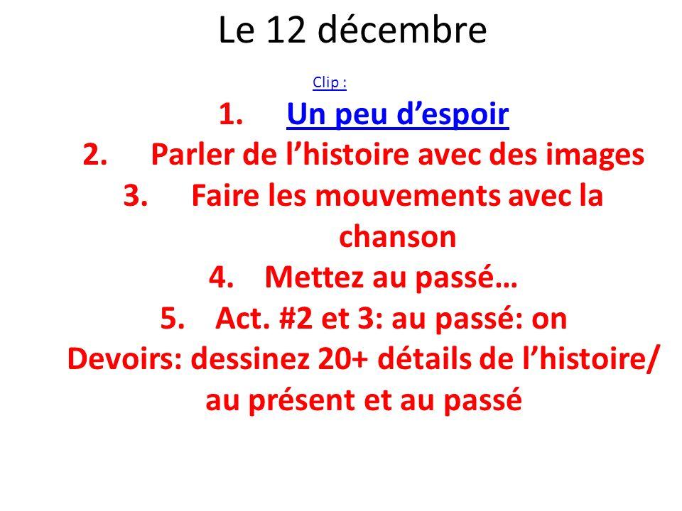 Le 12 décembre Un peu d'espoir Parler de l'histoire avec des images