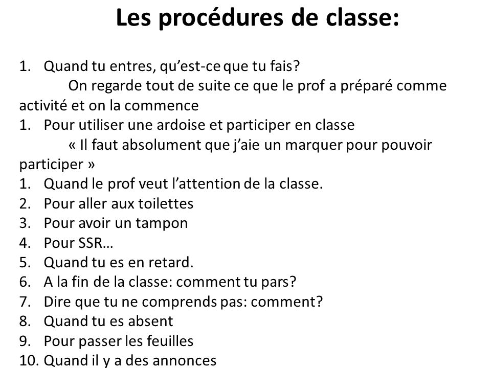 Les procédures de classe: