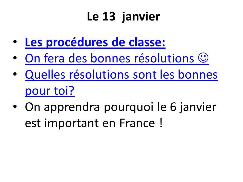 Les procédures de classe: On fera des bonnes résolutions 