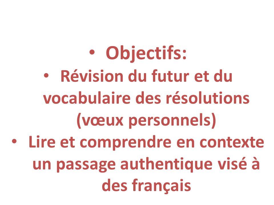 Révision du futur et du vocabulaire des résolutions (vœux personnels)