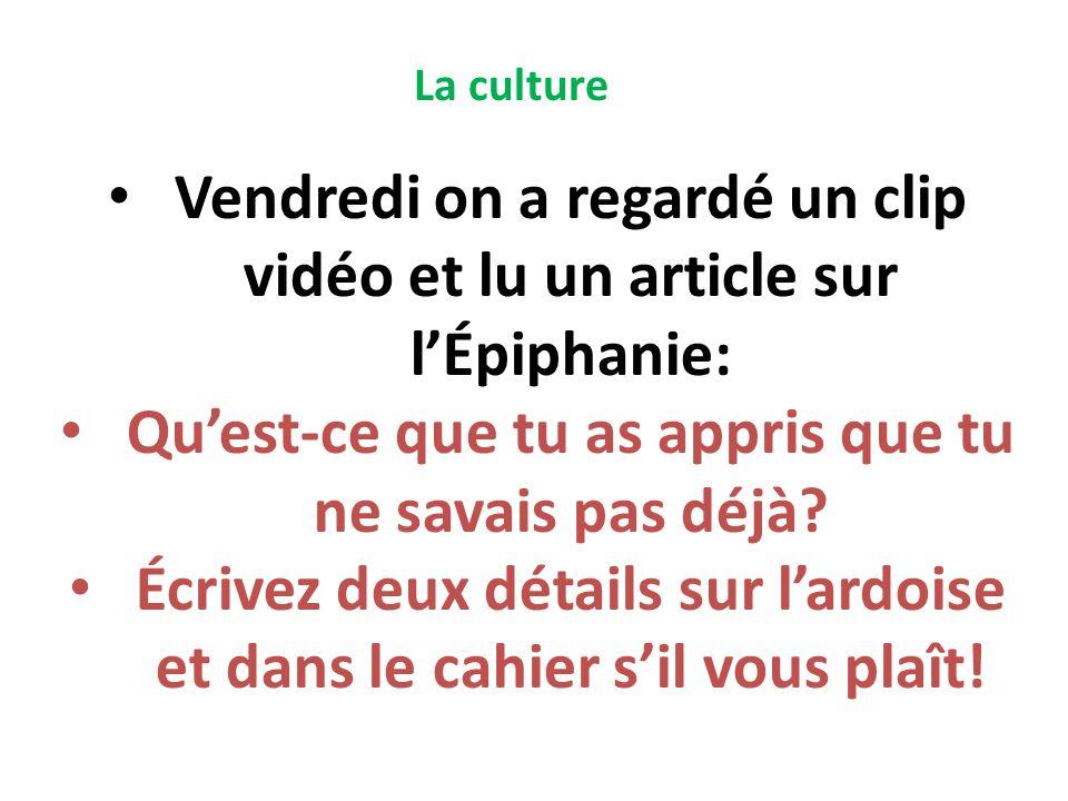 Vendredi on a regardé un clip vidéo et lu un article sur l'Épiphanie:
