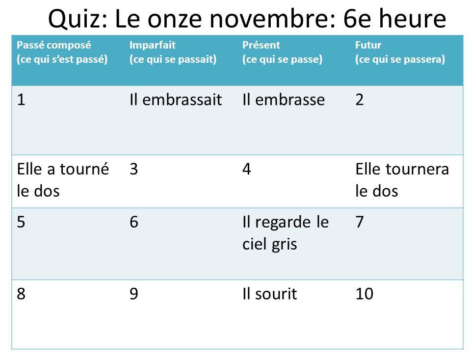 Quiz: Le onze novembre: 6e heure