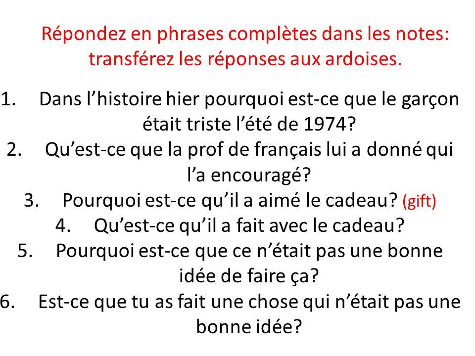 Qu'est-ce que la prof de français lui a donné qui l'a encouragé